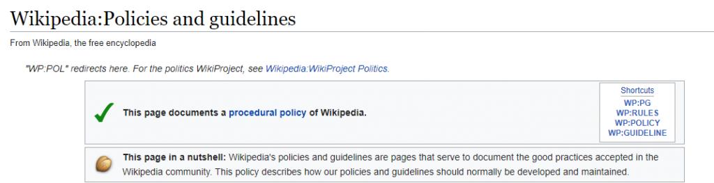 wikipedia policies